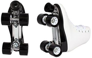 Echtleder Rollschuhe / Discoroller schwarz mit Stopper Gr. 37 - 44 in Top Qualität (schwarz - 41) - 4